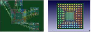 配線容易性とパフォーマンス向上のために、PCB設計(左)とパッケージ設計(右)間でリアルタイムにピン交換