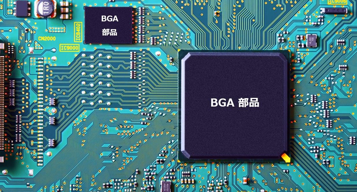 BGA部品を実装した試作基板