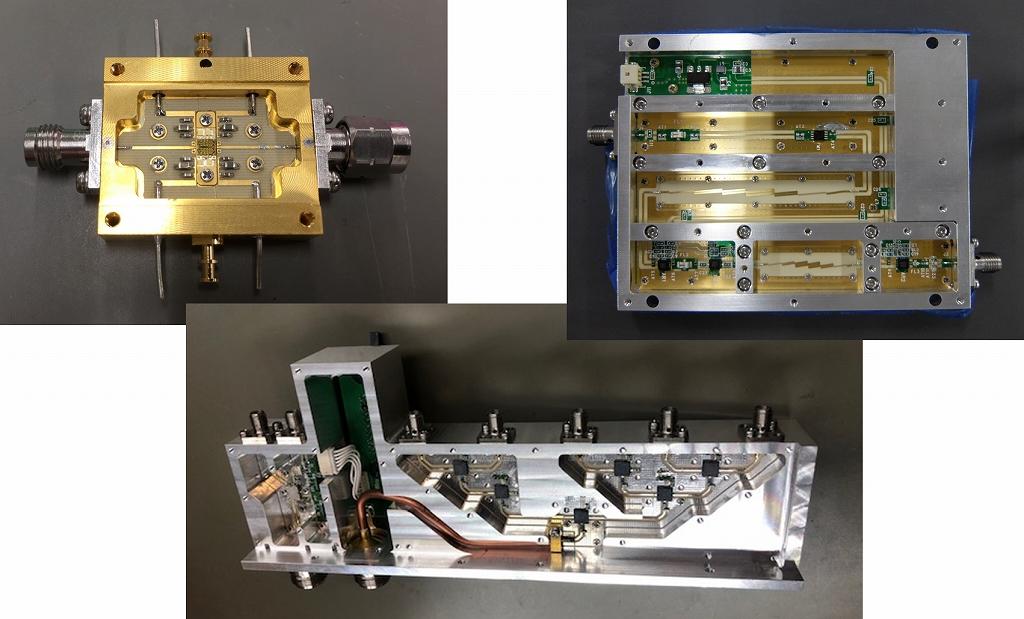 オリエントマイクロウェーブ社の製品群その2:ミリ波アンプ(左上)、切替器(中央下)、逓倍器(右上)